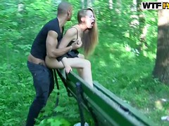 Cute Blonde Gets Fucked By A Public Park Bench