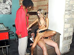 Blonde girl gets cocks interracial threesome