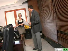 Sexy blonde Donna Bell office deepthroat anal sex