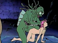 Sex crazed anime demons love drinking up pussy juice