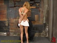 Sexy Blonde Gets a Gag Ball In Her Mouth And Leather Bounds On Her Limbs