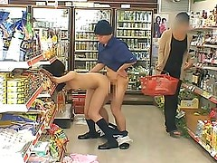Sonan shows her hot Asian pussy and tits in the store