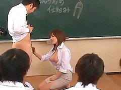 Rio Hamasaki plays with a student?s cock in class