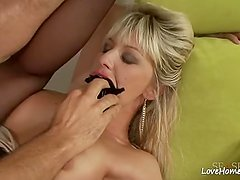 Hottie is riding him after sucking his cock