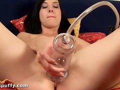 Leggy teen Cherry uses pump and dildos on her luscious pussy