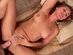 Busty brunette milf enjoys some steamy foreplay