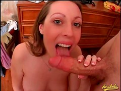 Fat guy cums in her cute mouth