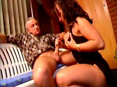 Old guy gets handjob and balls fondled