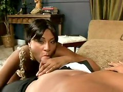 Black girl blows thick cock and rides it