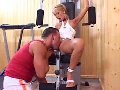 Blonde is incredibly beautiful as they play in gym