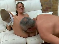 Busty blonde with freckles fucks older man