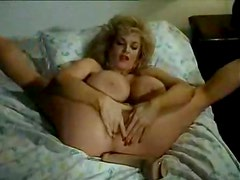 Retro pornstar banging with huge dildo