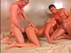 Insanely hot blonde threesome sex