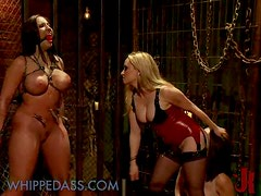Busty Blonde Dominatrix Fucking Her Two Lesbian Sex Slaves with Strapon