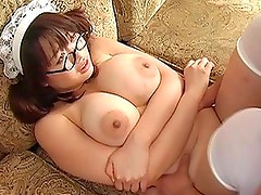 Sakura Kawamine squeeze breasts together during hard fucking