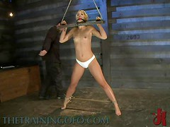 Gag Ball In Her Mouth and a Vibrating Toy In Her Pusy In BDSM Vid