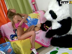 Innocent Looking Teen Gets A Pounding From A Panda Teddy Bear