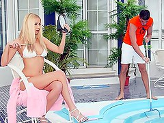 Horny blonde babe gets ass fucked near pool
