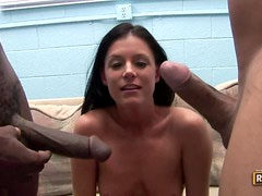 India Summer Gags In AM Attempt Of Handling Two Black Cocks
