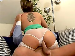 Hot Babe Rides A Hard Cock While Wearing Sexy Stockings