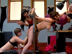 Three Kinky Dominatrices Having Fun with One Submissive Babe