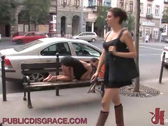 Sexy Babe Gives A Blowjob In Public While Having Some BDSM Fun