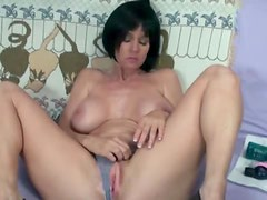 Big boobs milf with her two toys