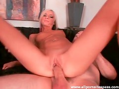 Petite blonde cocksucker sits on dick