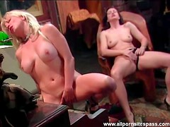 Two hot women masturbate in piano room