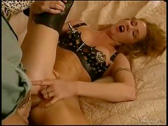 Redhead in leather hardcore anal sex