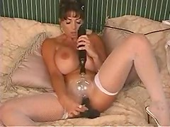 Naked fake tits chick electro play and dildo sex