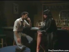 Dude goes down on a hottie in the bar