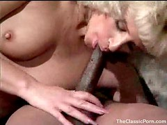 Hairy pussy on a sexy retro blonde takes BBC