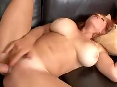 Awesomely hot redhead with big boobs fucked