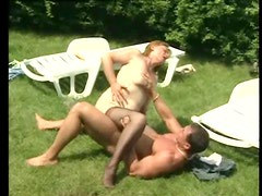 Chubby mature laid outdoors by stiff dick