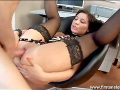 Madow in kinky stockings gets her hardcore ass sex