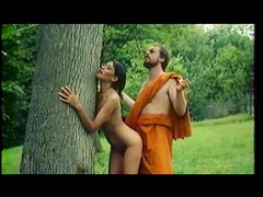 Monk fucks a worshipful girl outdoors