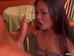 Naughty Asian minx chokes herself on big dick