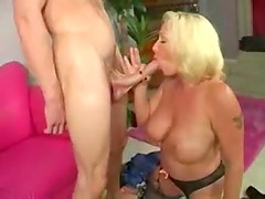 He strips so milf can suck his cock