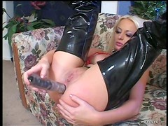 Blonde and Redhead Lesbians Fucking Each Other with Huge Dildos