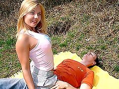 Blonde Cutie Rides A Hard Boner Outdoors