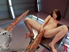 Wild Action For This Petite Brunette And Her Fucking Machine