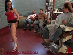 Horny Brunette Gets Turned On For A Public Gangbang In A Barbershop