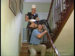 Busty House Maid gets Double Penetrated By Two Hard Dicks