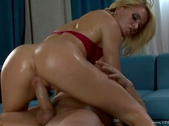 Oiled Up Action With The busty Blonde Milf Krissy Lynn