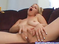 Home Alone Busty Blonde Masturbates