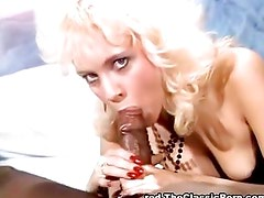 Blonde mouth filled with stiff cock
