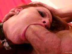 Teen Redhead Gags On A Large Cock As She Shows Her Pink Shaved Pussy