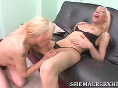 Hot Blonde Trannies Fucking Each Other