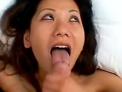 Her Asian mouth is his to fuck